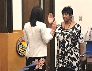 Will County Board Speaker Denise Winfrey sworn in as Interim County Executive at special county board meeting