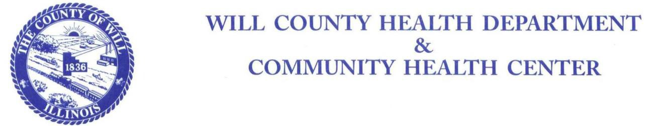 Will County Health Department Letterhead