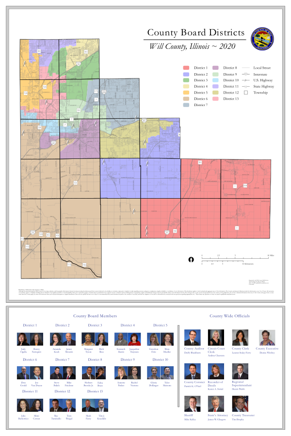 Will County Board Districts map