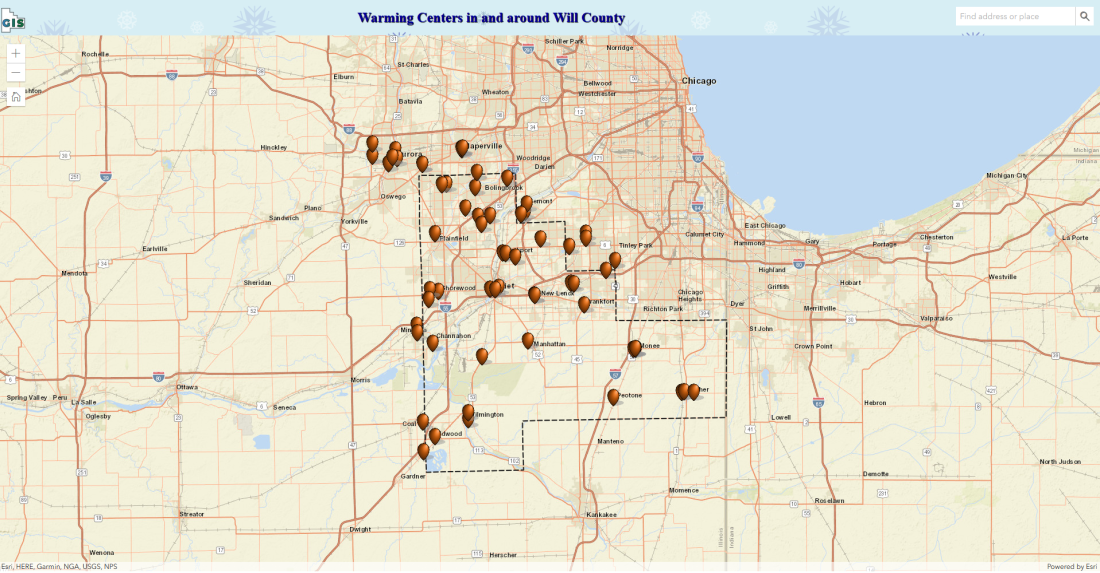 Map of cooling center locations