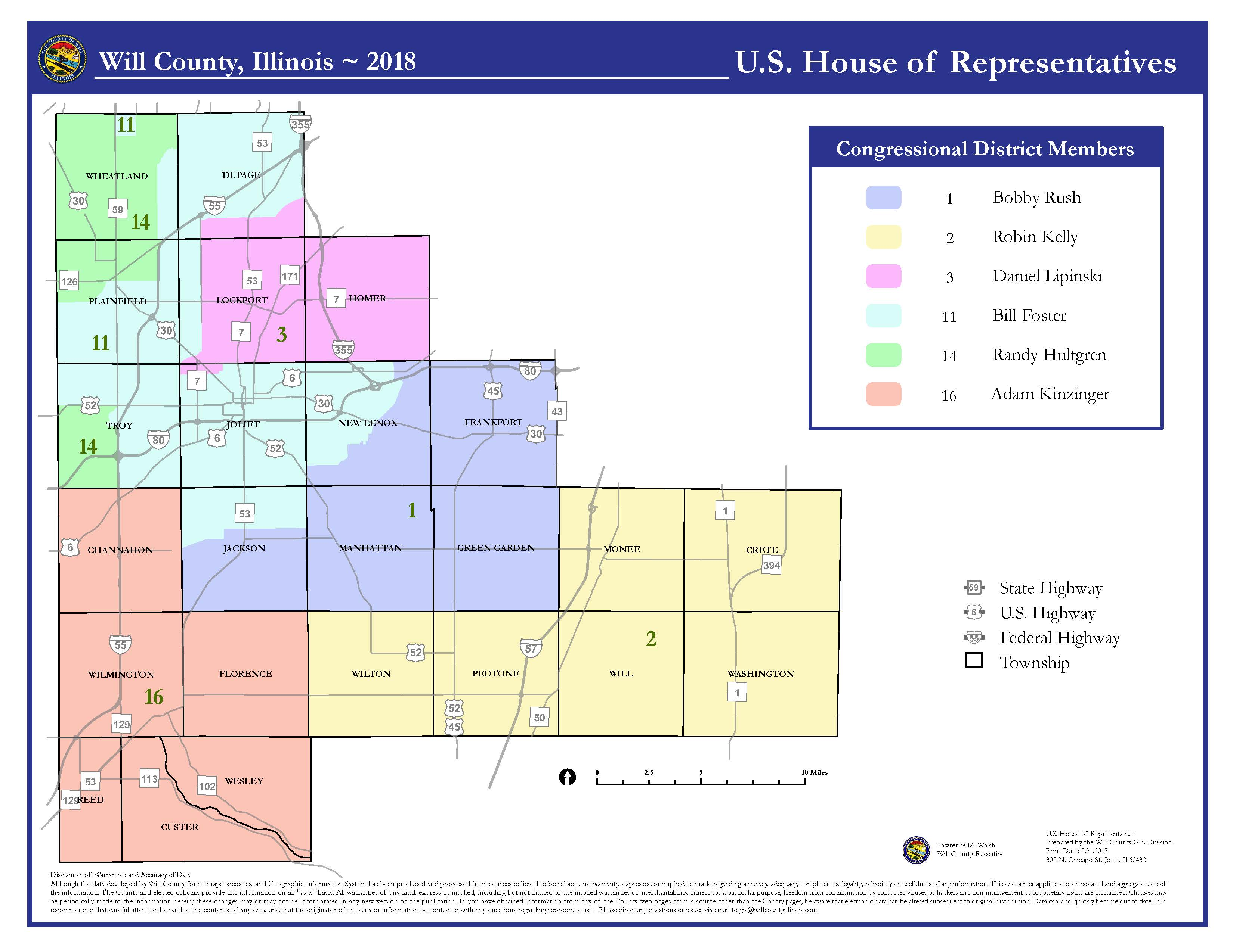 Will County Illinois US House of Representatives Districts