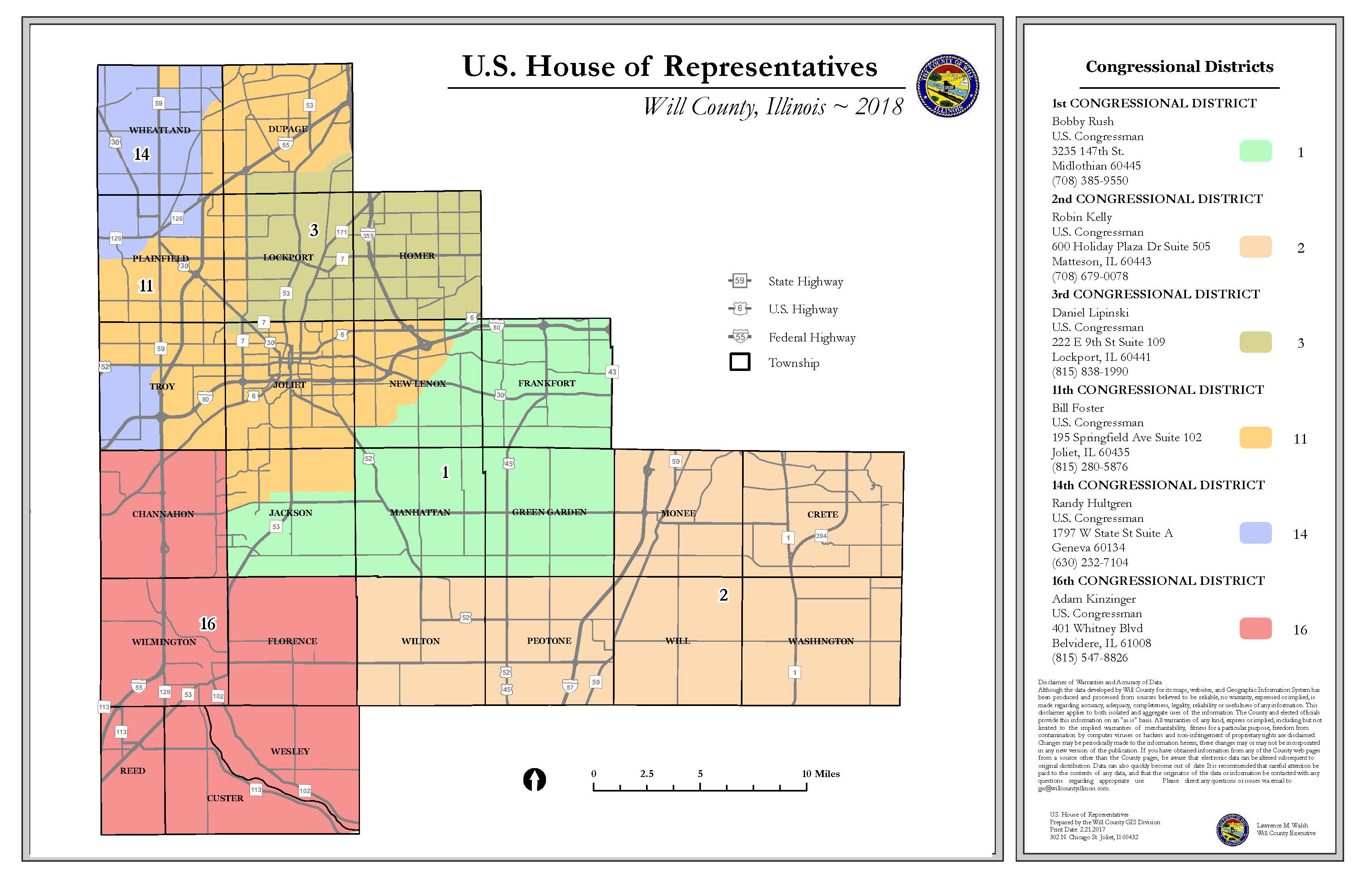 Will County Illinois US House of Representatives Congressional Districts 11x17
