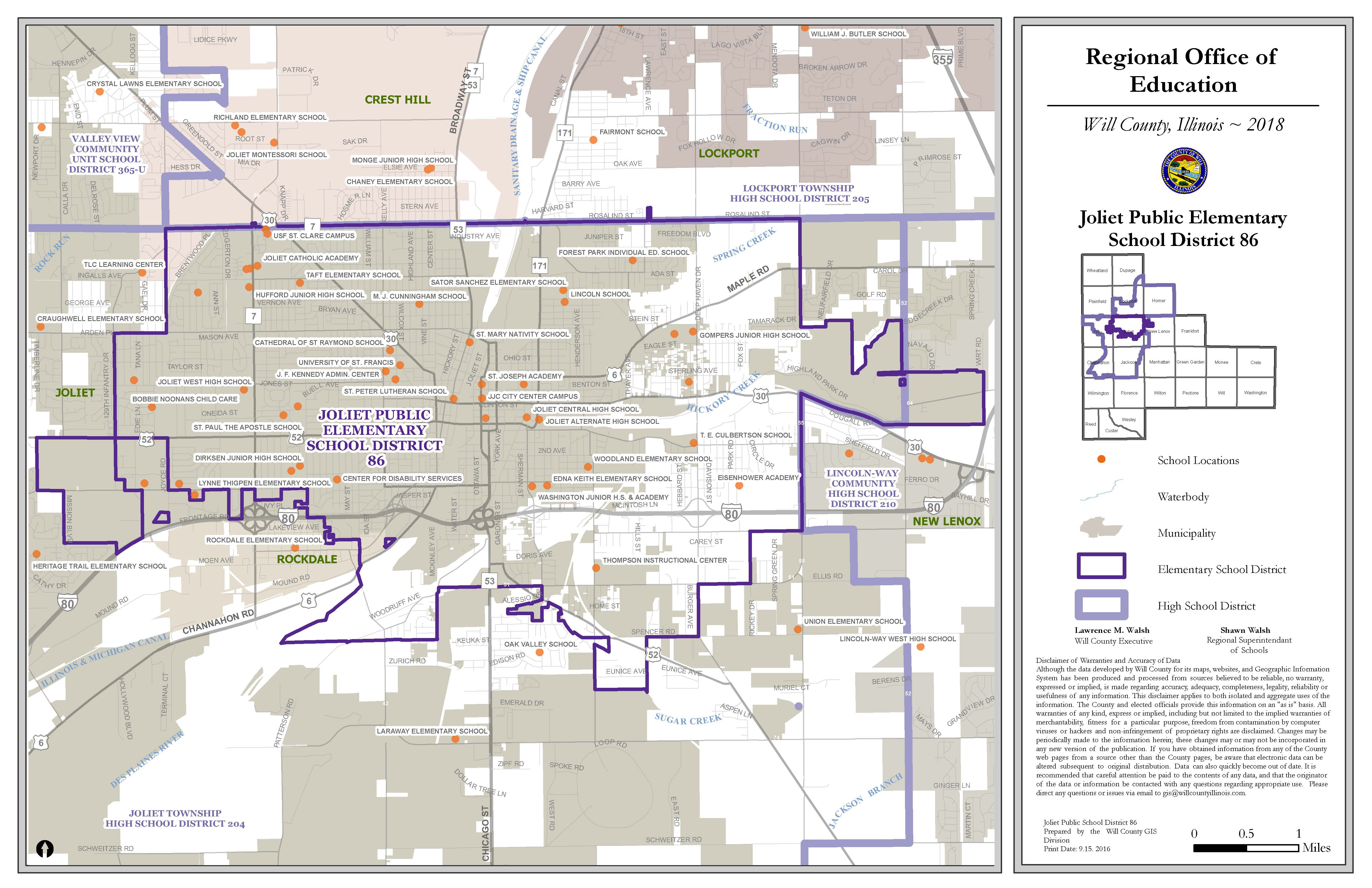 Joliet School Districts map