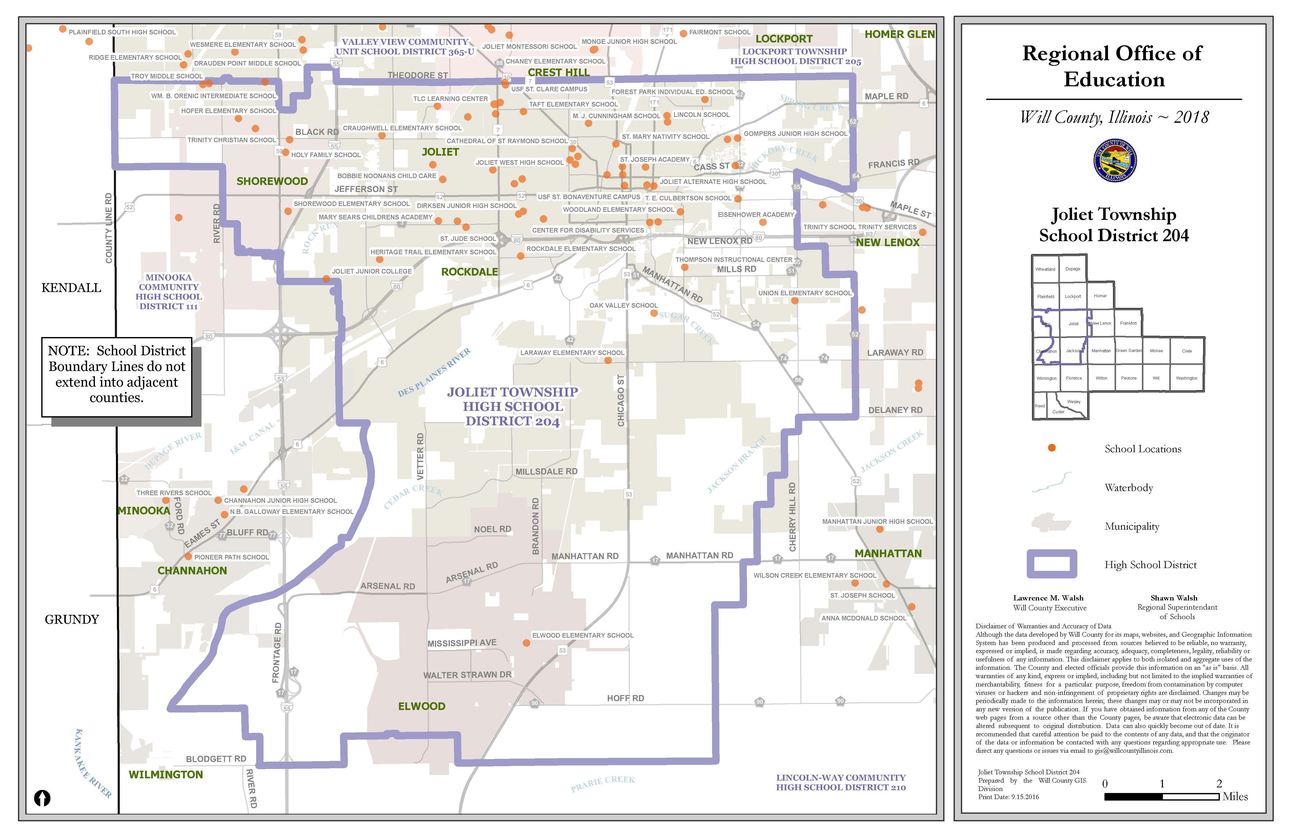 Joliet Township High School District Map